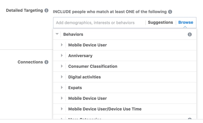 Facebook Targeting Behaviours