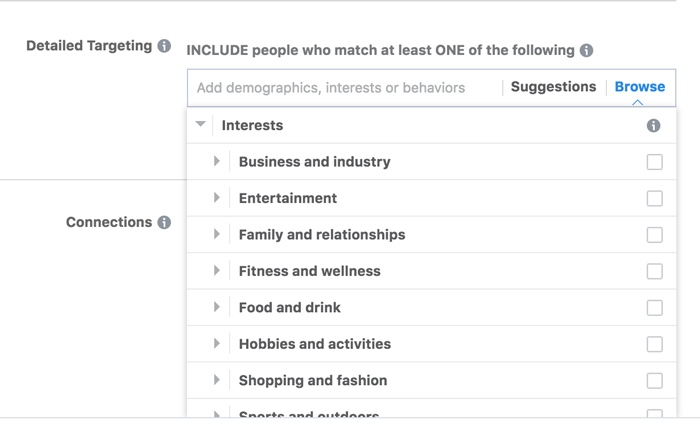 Facebook Targeting Interests